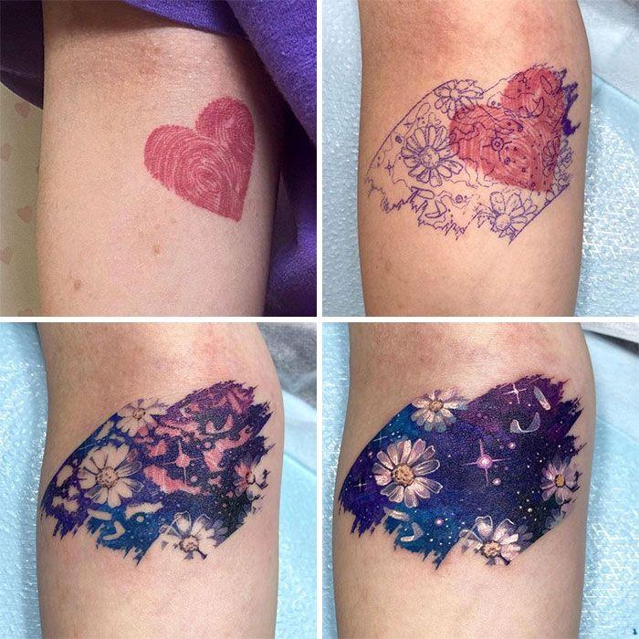 38 pessoas que cobriram suas tatuagens de forma para lá de criativas 23