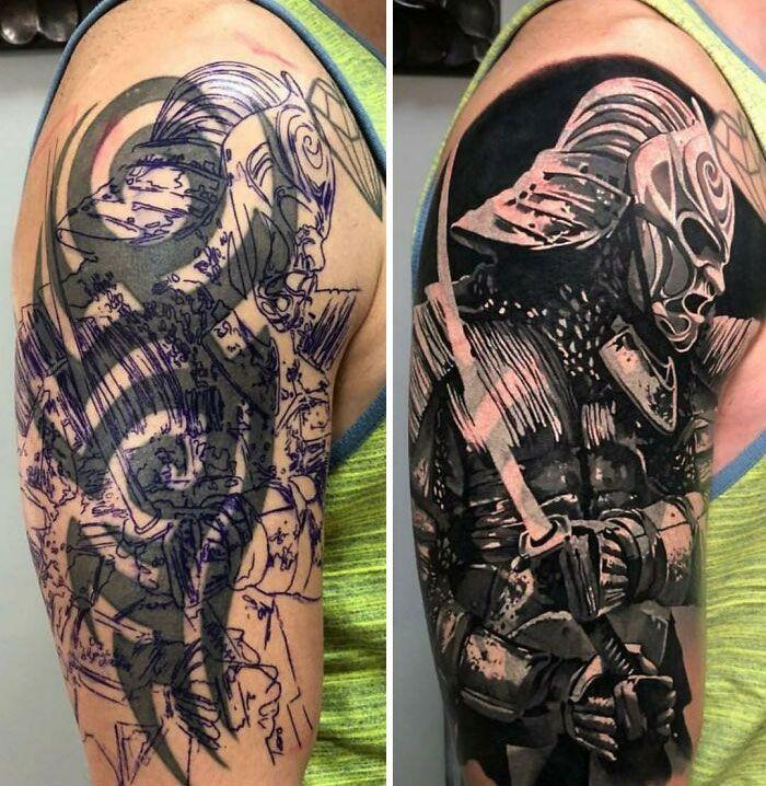 38 pessoas que cobriram suas tatuagens de forma para lá de criativas 31