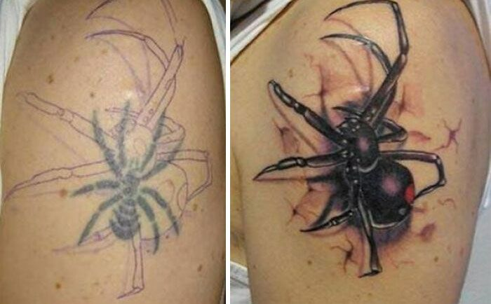 38 pessoas que cobriram suas tatuagens de forma para lá de criativas 37