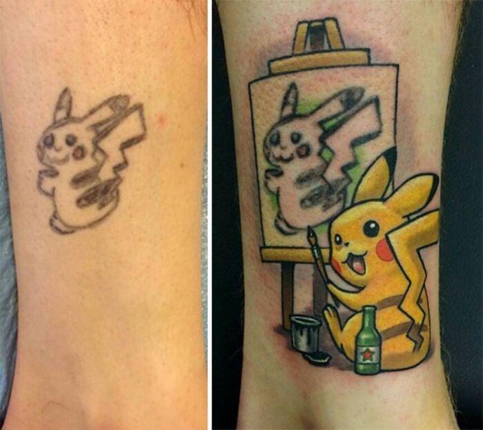 38 pessoas que cobriram suas tatuagens de forma para lá de criativas 38