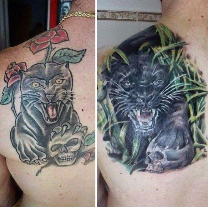 38 pessoas que cobriram suas tatuagens de forma para lá de criativas 39