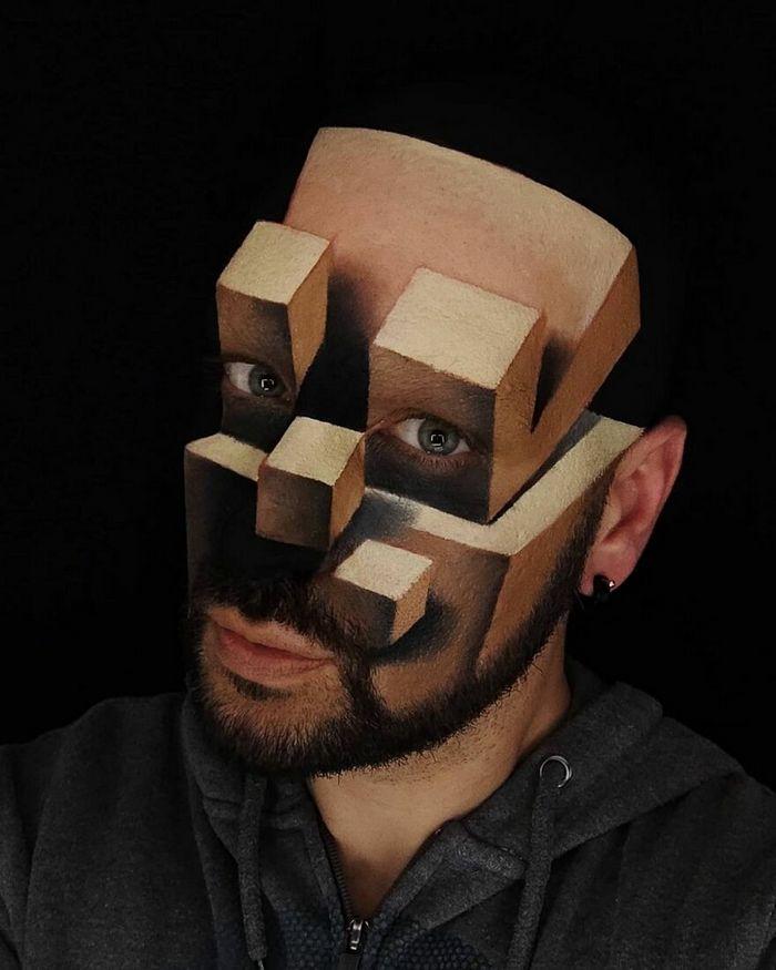 Artista italiano usa seu corpo como uma tela para criar ilusões ópticas realistas (42 fotos) 28