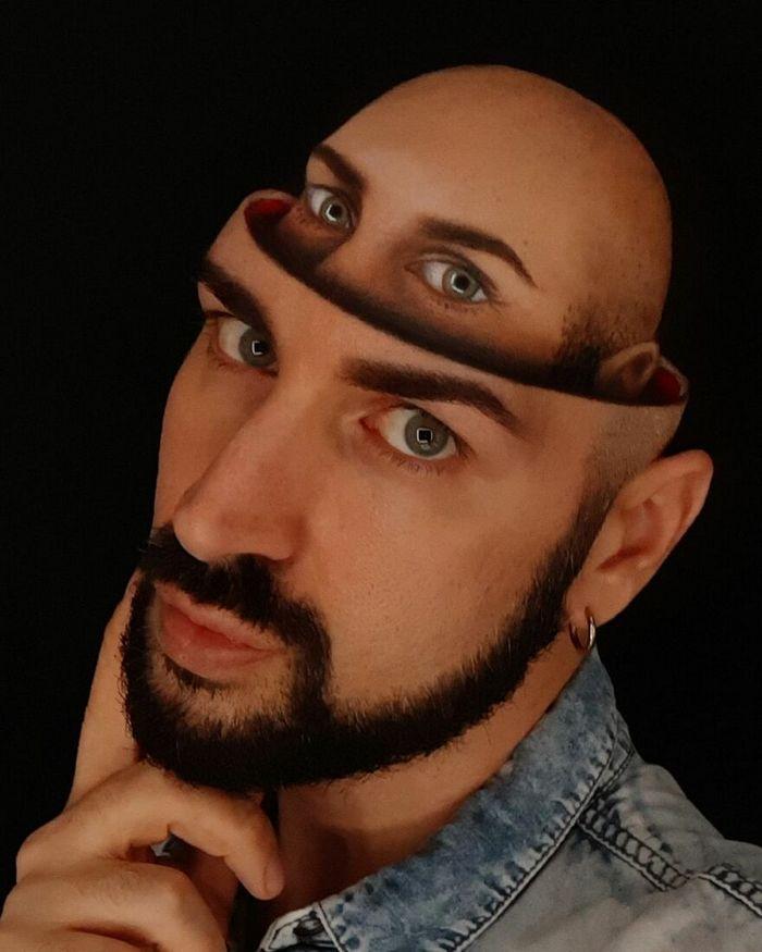 Artista italiano usa seu corpo como uma tela para criar ilusões ópticas realistas (42 fotos) 42