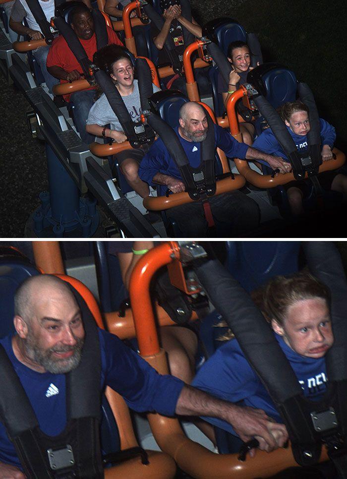 45 fotos hilárias de pessoas que se divertiram além da conta na montanha-russa 38
