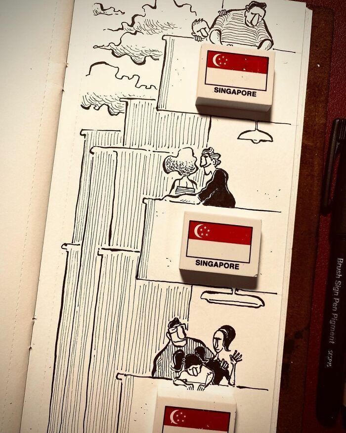 36 ilustrações que interagem com objetos do dia a dia 2