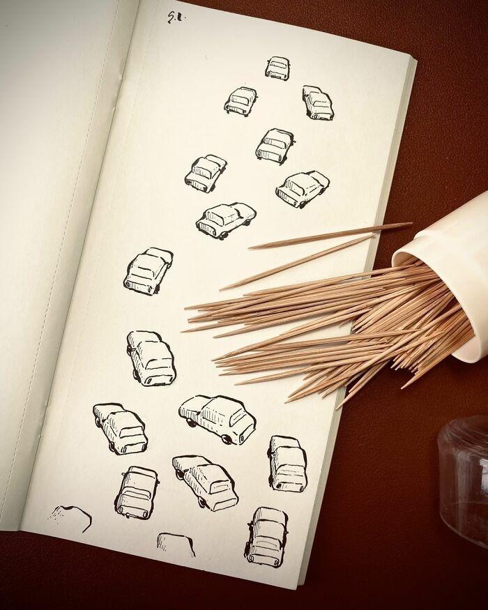 36 ilustrações que interagem com objetos do dia a dia 4