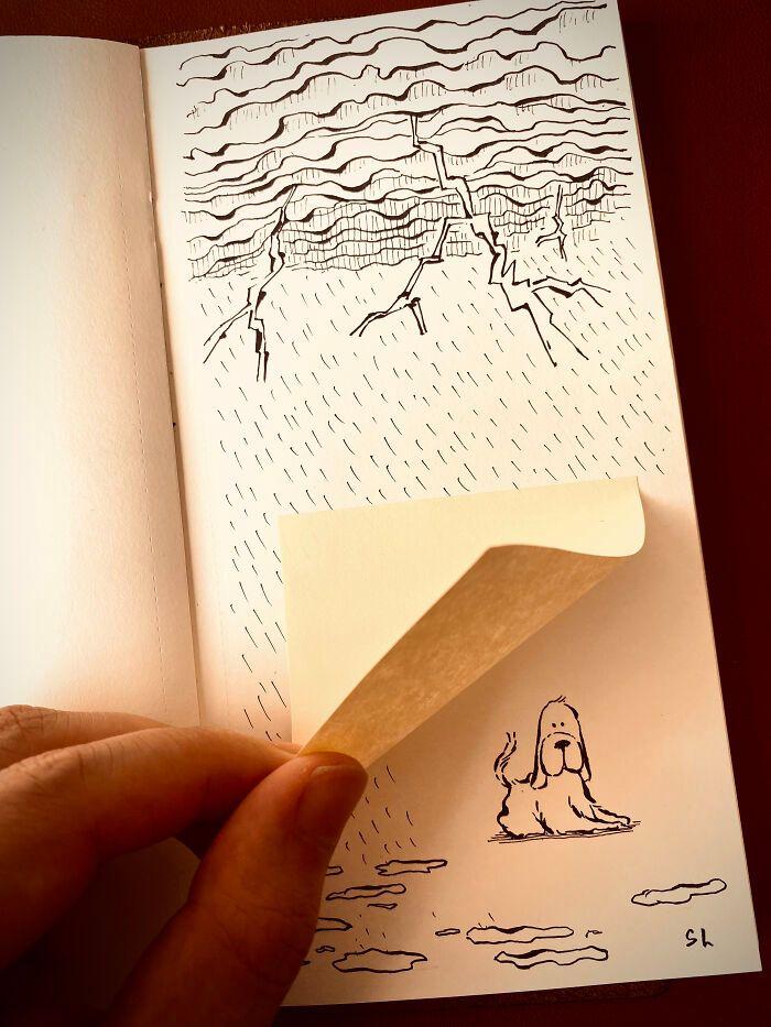 36 ilustrações que interagem com objetos do dia a dia 6