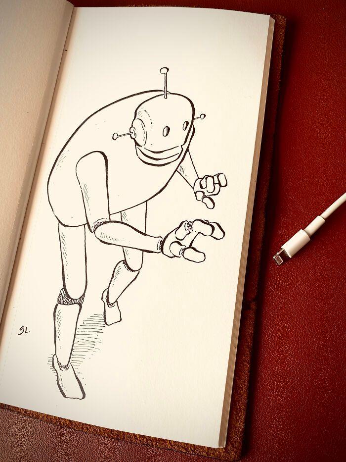 36 ilustrações que interagem com objetos do dia a dia 8