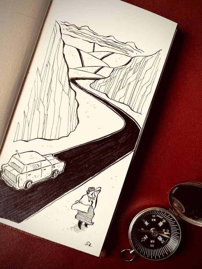 36 ilustrações que interagem com objetos do dia a dia 10
