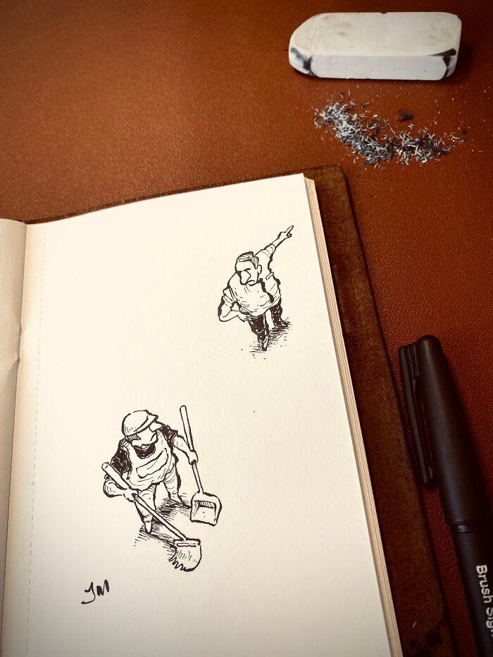 36 ilustrações que interagem com objetos do dia a dia 16