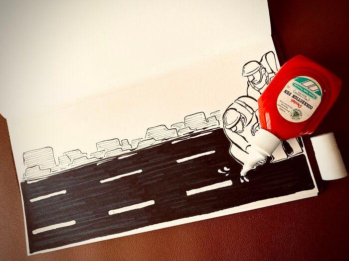36 ilustrações que interagem com objetos do dia a dia 18