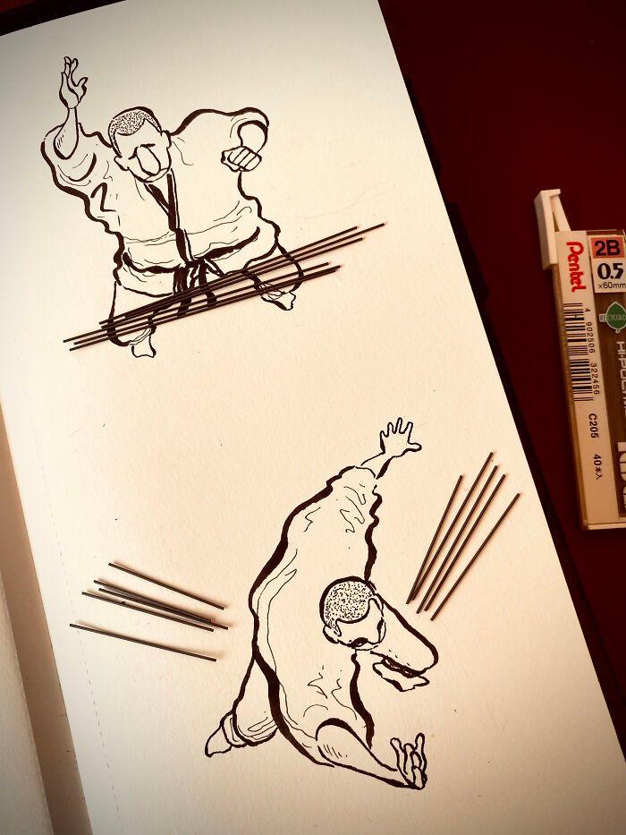 36 ilustrações que interagem com objetos do dia a dia 19