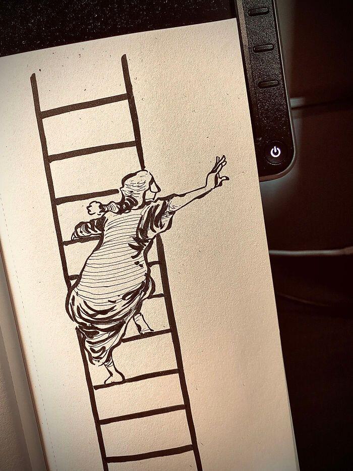 36 ilustrações que interagem com objetos do dia a dia 20