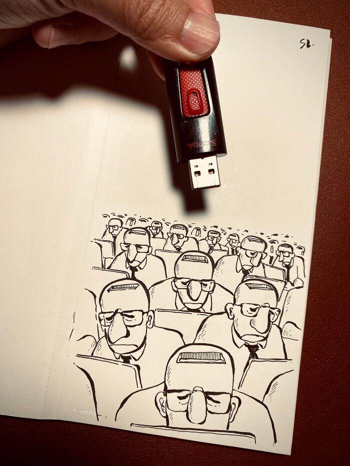 36 ilustrações que interagem com objetos do dia a dia 23