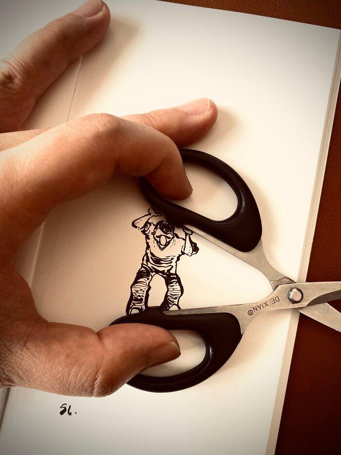 36 ilustrações que interagem com objetos do dia a dia 24