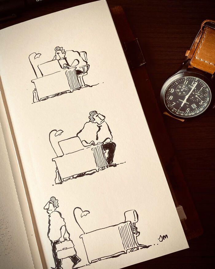 36 ilustrações que interagem com objetos do dia a dia 30