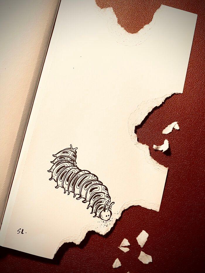 36 ilustrações que interagem com objetos do dia a dia 31