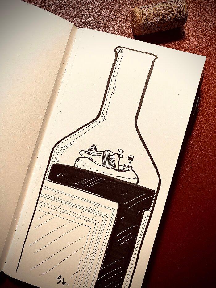 36 ilustrações que interagem com objetos do dia a dia 32