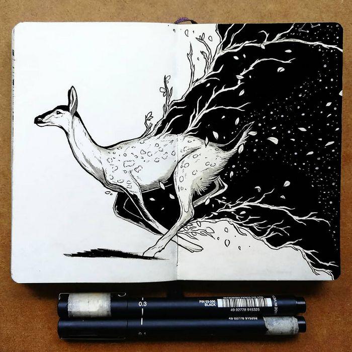 Ilustrador combina animais, pessoas e o céu noturno para criar arte mágica (26 fotos) 2