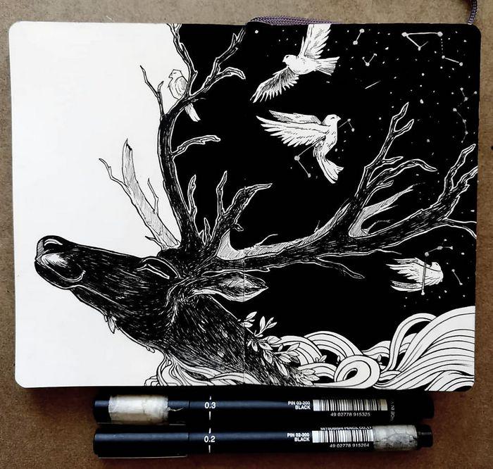 Ilustrador combina animais, pessoas e o céu noturno para criar arte mágica (26 fotos) 7