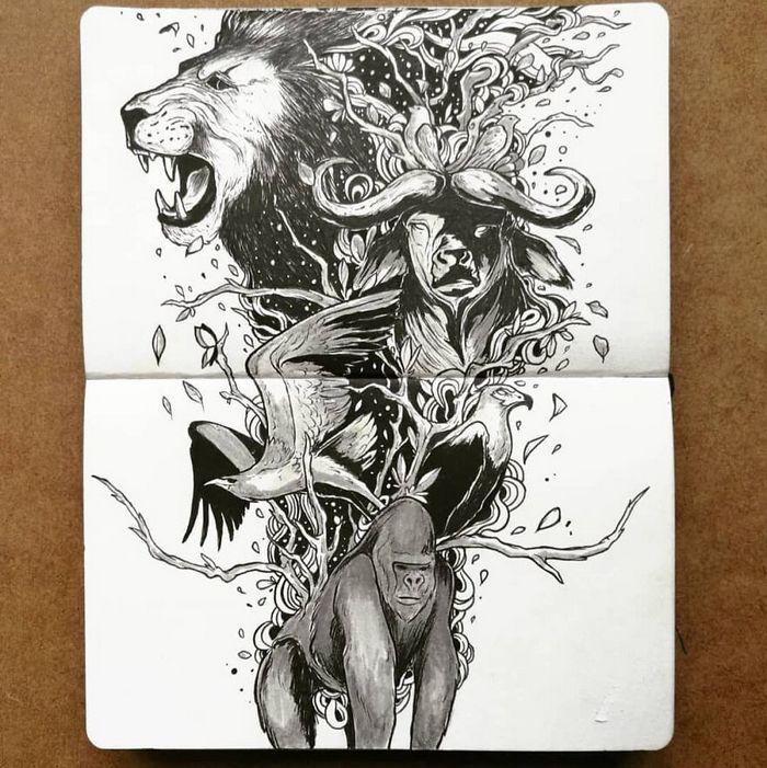 Ilustrador combina animais, pessoas e o céu noturno para criar arte mágica (26 fotos) 12
