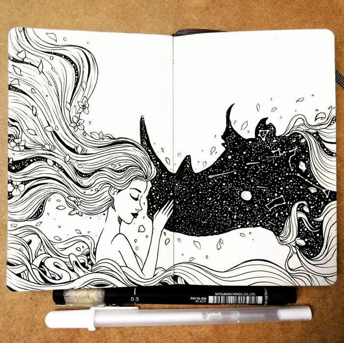 Ilustrador combina animais, pessoas e o céu noturno para criar arte mágica (26 fotos) 25