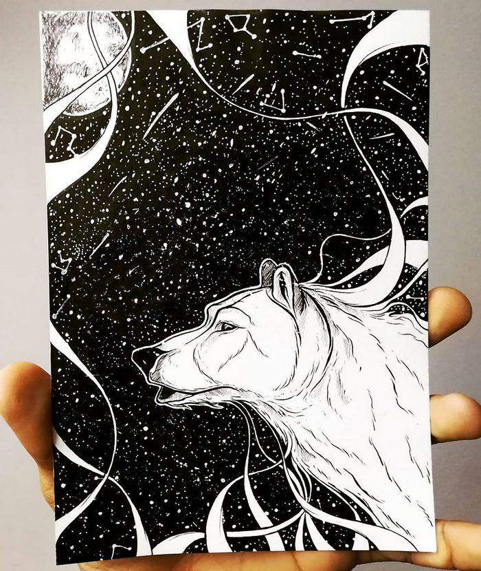 Ilustrador combina animais, pessoas e o céu noturno para criar arte mágica (26 fotos) 26