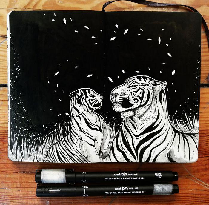 Ilustrador combina animais, pessoas e o céu noturno para criar arte mágica (26 fotos) 27