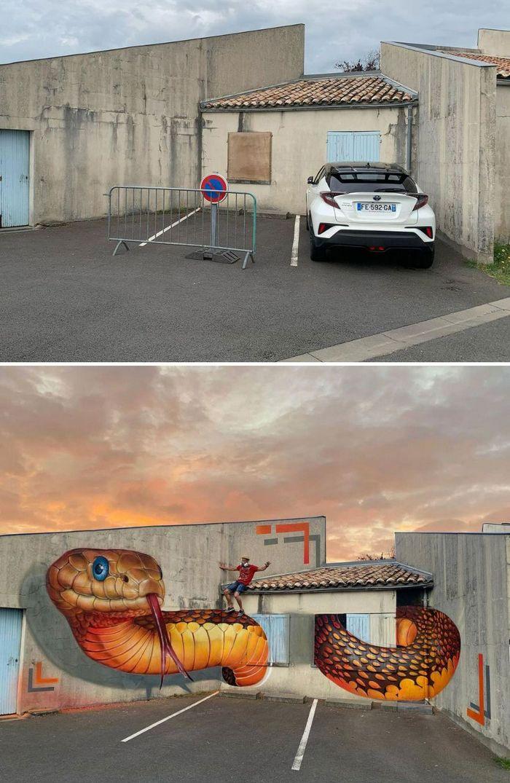 Artista de rua francês pinta graffiti de criaturas em 3D e não é para os fracos de coração (43 fotos) 2