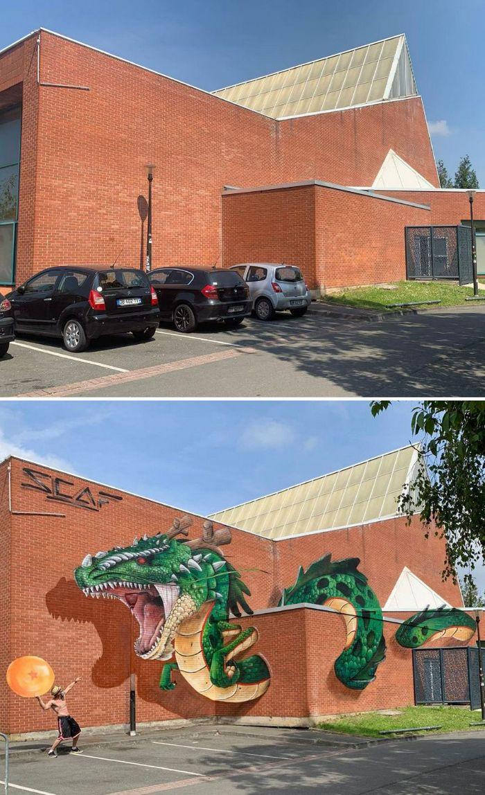 Artista de rua francês pinta graffiti de criaturas em 3D e não é para os fracos de coração (43 fotos) 3