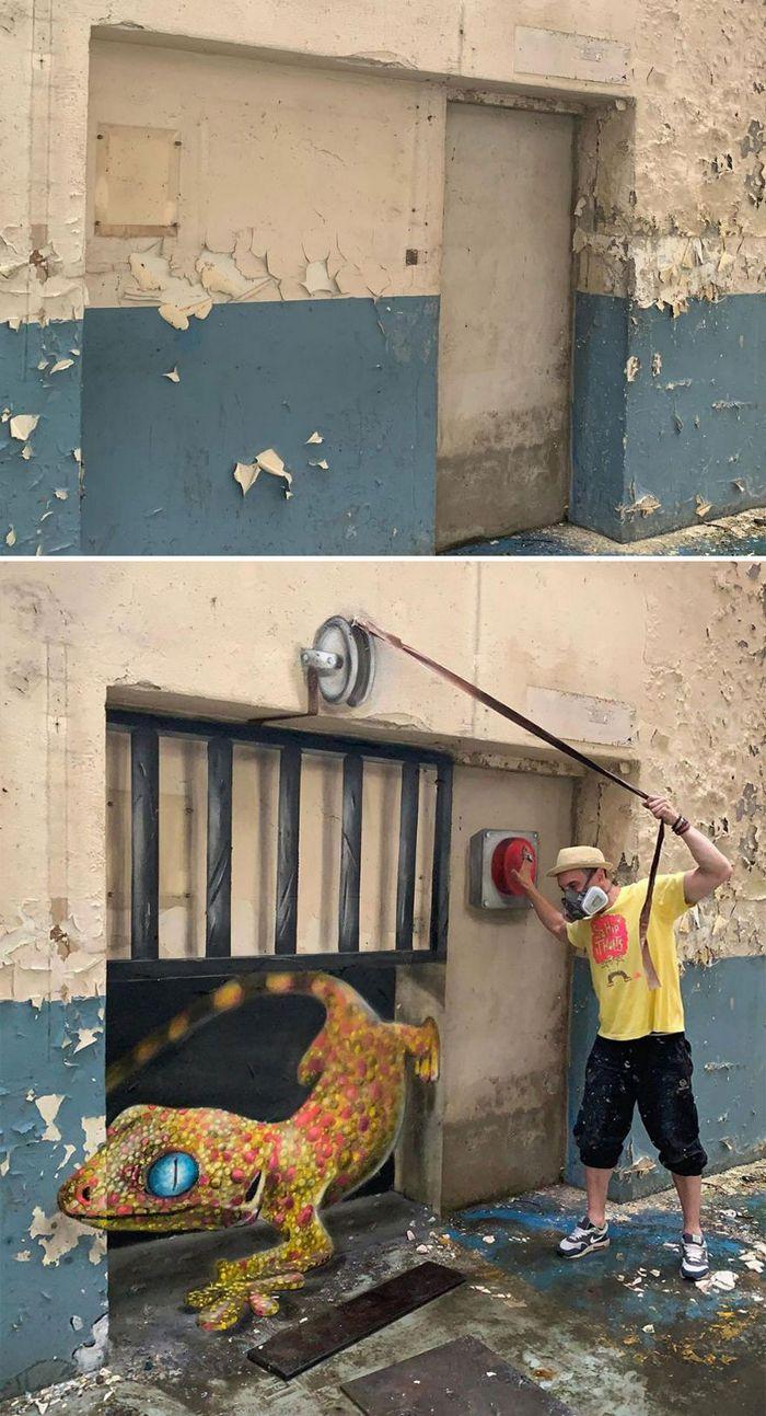 Artista de rua francês pinta graffiti de criaturas em 3D e não é para os fracos de coração (43 fotos) 5