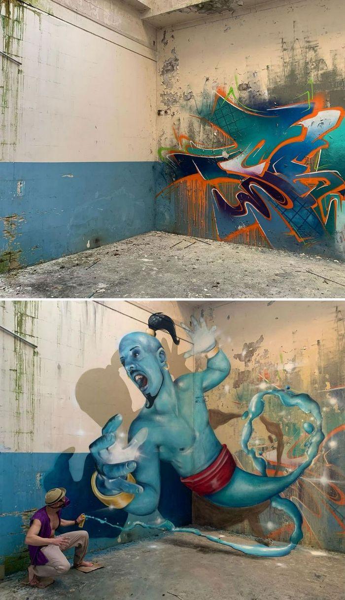 Artista de rua francês pinta graffiti de criaturas em 3D e não é para os fracos de coração (43 fotos) 12