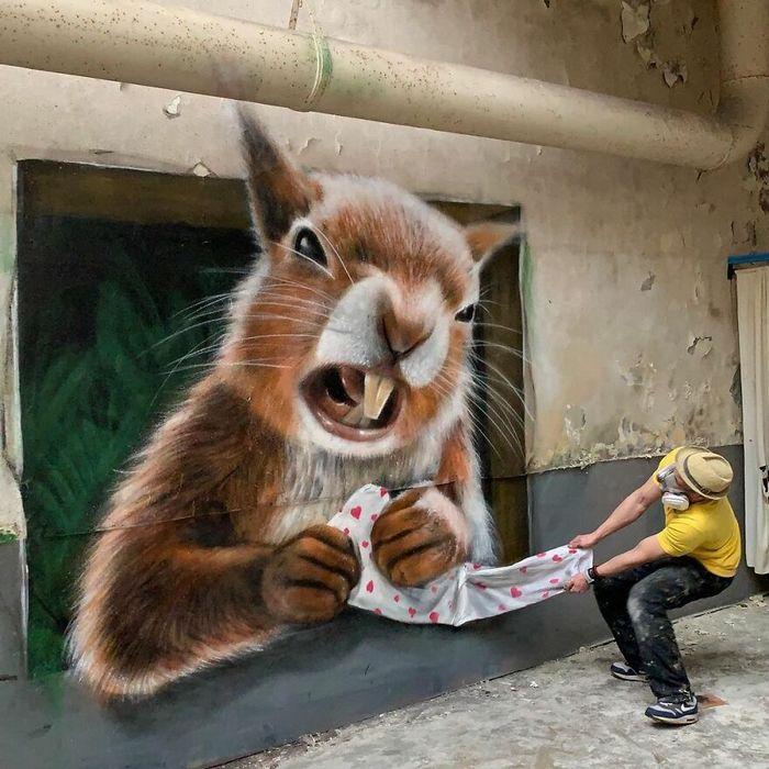Artista de rua francês pinta graffiti de criaturas em 3D e não é para os fracos de coração (43 fotos) 37