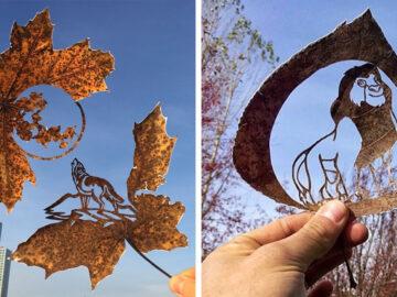 Eu crio desenhos cortando folhas caídas (42 fotos) 6