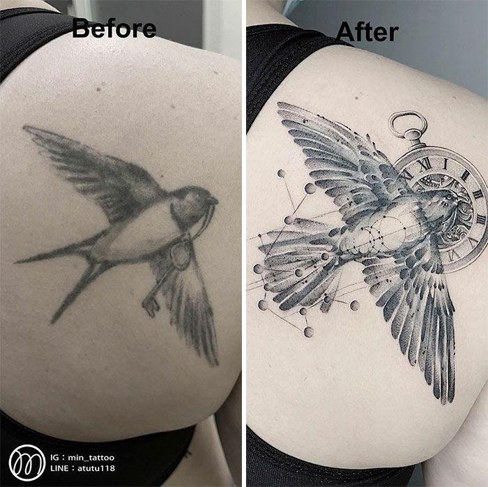 59 exemplos surpreendentes de mestres de tinta dando uma reforma incrível em tatuagens velha e feia 10