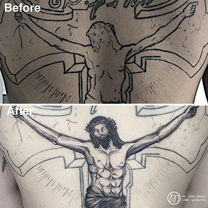59 exemplos surpreendentes de mestres de tinta dando uma reforma incrível em tatuagens velha e feia 23